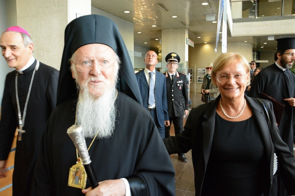 2017-Papa Bartolomeo I patriarca d'Oriente con Simonetta Saliera