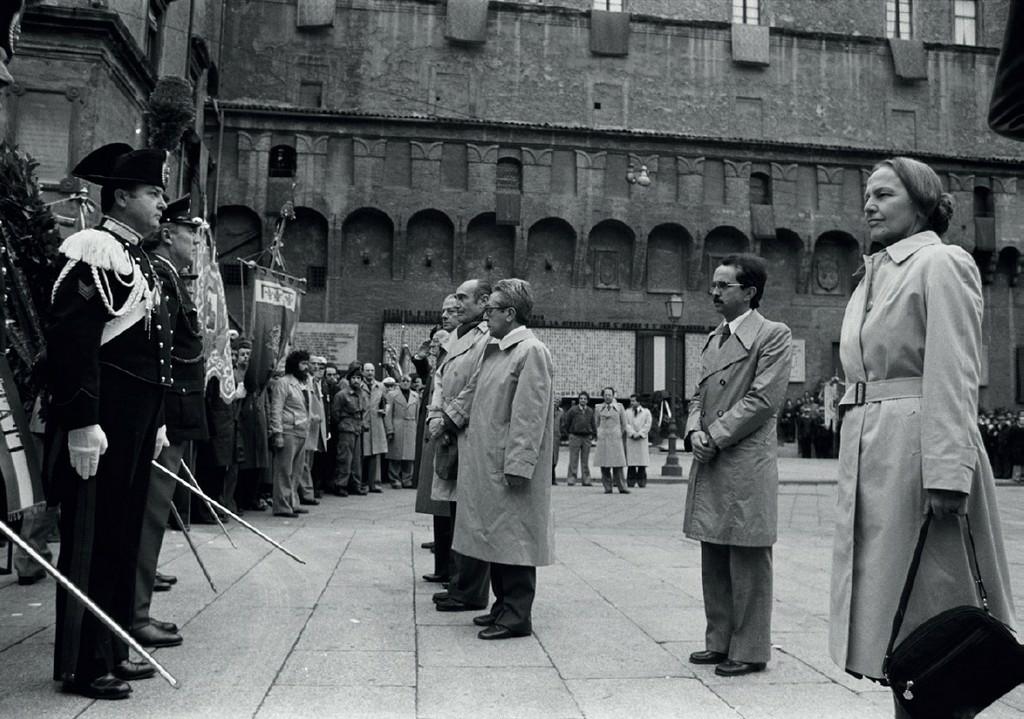 1980-La presidente della Camera Nilde Iotti a Bologna con il presidente Lanfranco Turci e il sindaco Renato Zangheri